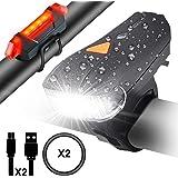 Myguru Luci per Bicicletta, Luce Bici Anteriore e Posteriore Ricaricabile USB Impermeabile Set Lampadine LED Sensore Intelligente 5 Modalià Bicicletta 400 Lumen Ciclismo