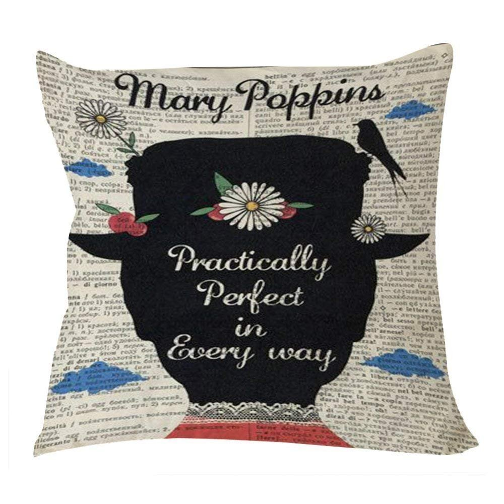 Wecye Mary Poppins Practically Perfect in Every Day Cotton & Polyester Throw Case Pillow Case Cover 18 x 18inch