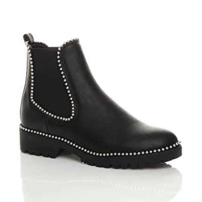 Womens Low Block Heel Pull On Black Buckle Stud Ankle Boots Ladies Shoes Size