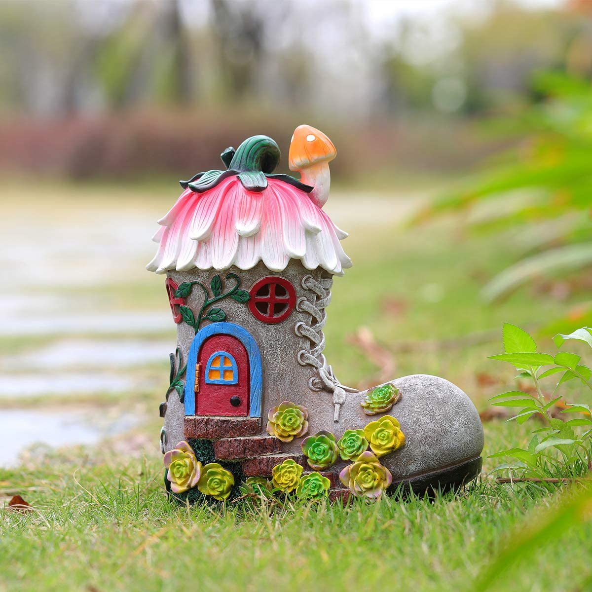 Fairy Boot House Garden Statues and Outdoor Decor,Garden Figurines with Solar Powered Lights for Patio Yard Lawn Gardening Gifts,7.9x4.4x9.1 Inch