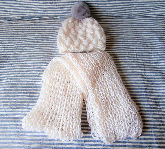 Ensemble Echarpe + bonnet bébé laine blanc bonnet avec pompon fourrure gris  maille fantaisie, écharpe 4fa4488f506