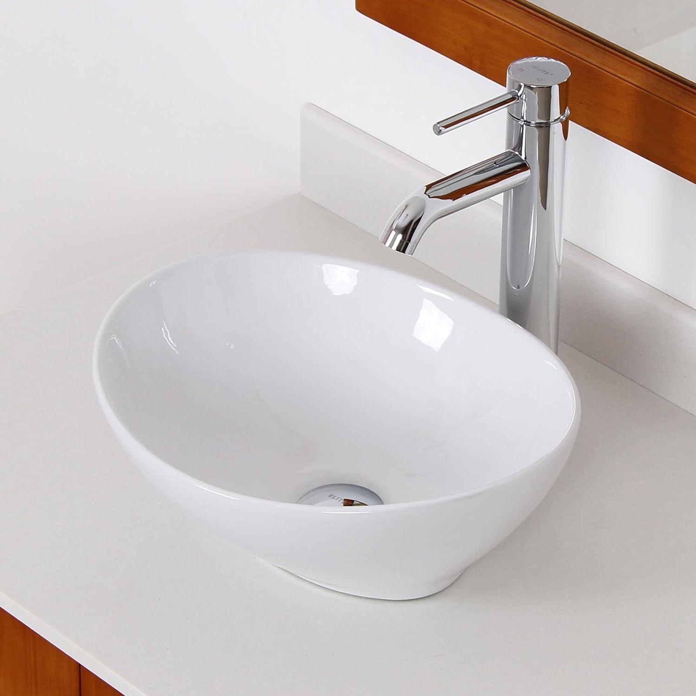 ELITE Bathroom Egg White Ceramic Porcelain Vessel Sink Chrome Faucet Combo for Vanity