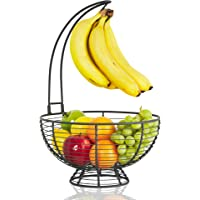 Fruit Basket with Banana Hanger - Regal Trunk Rustic French Farmhouse Fruit Bowl with Banana Tree Hangar | Vegetable and…