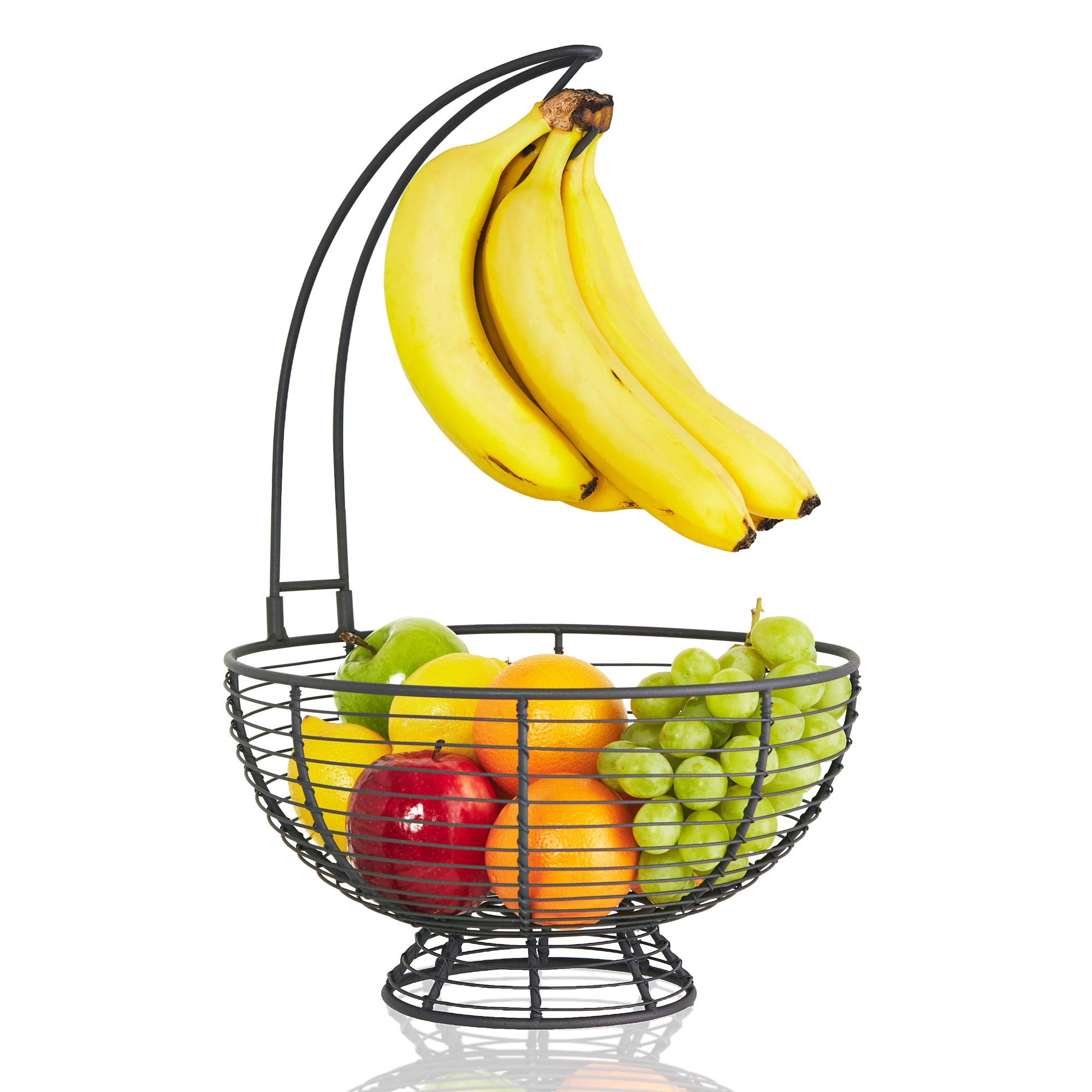 BESPORTBLE Black Large Fruit Basket with Banana Hanger Rustic French Farmhouse Fruit Bowl with Banana Holder Tree Vegetable Fruit Holder with Banana Stand
