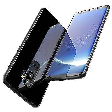 free shipping e35eb aeabe Humixx Samsung Galaxy S9 Plus Case, Black Tempered Glass Back & TPU Soft  Bumper Cover Galaxy S9 Plus Glass Phone Case Excellent Grip Anti-Scratch ...