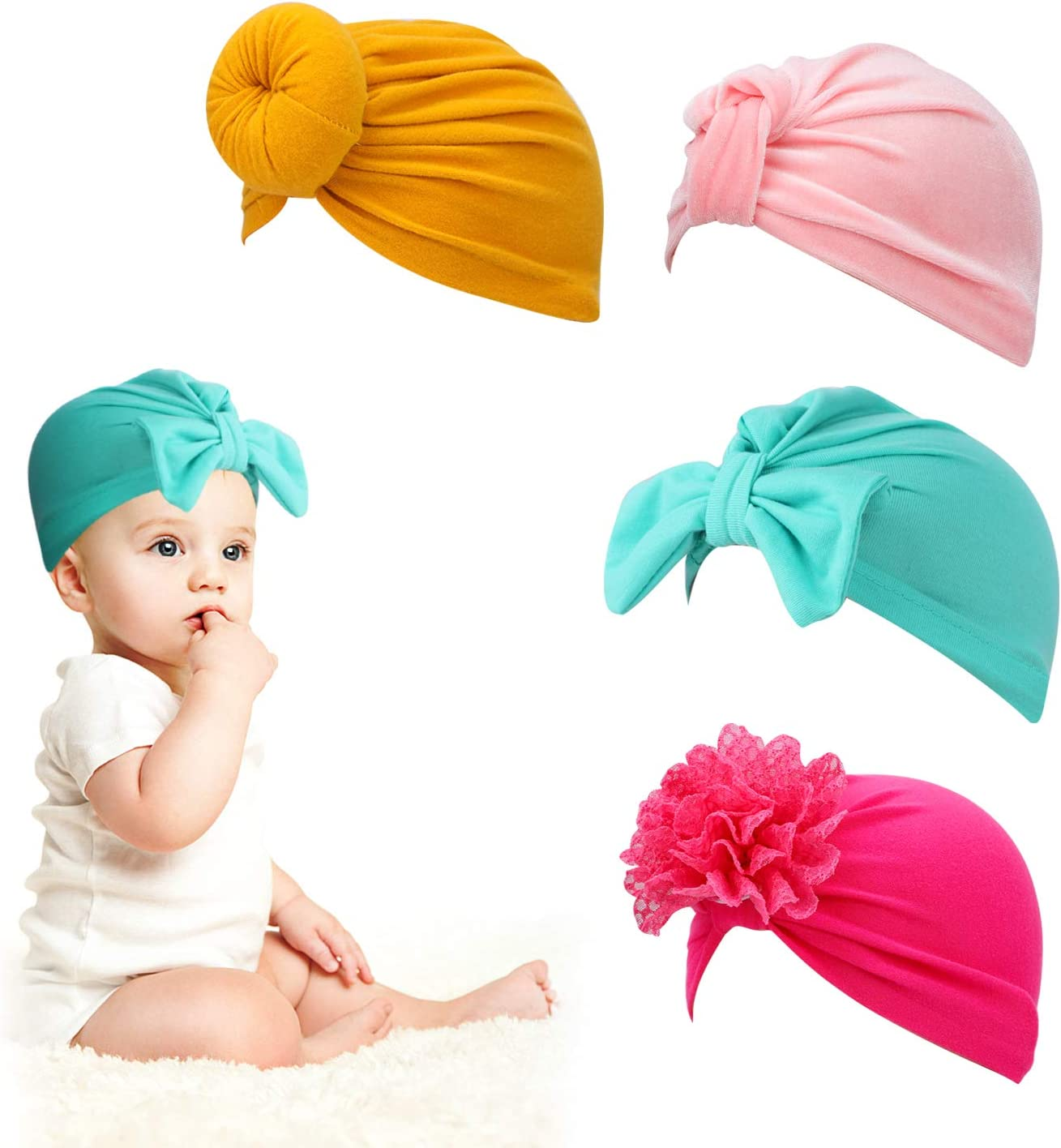 bambino Ragazza Berretto Bowknot accessori capelli fiore neonata fotografia prop HIFOT Baby Turbante berretto neonato Cappello 4 pezzi