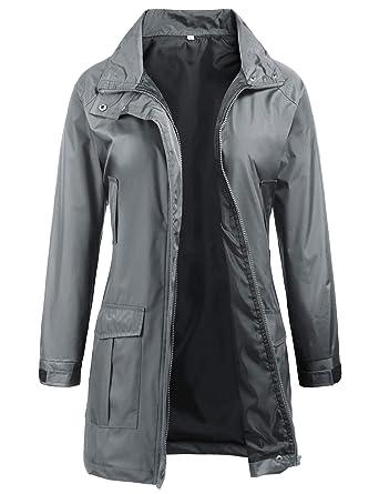 93e21166060 Windproof Coat Women Trench Jacket Hooded Windbreaker For Travel Hiking  Outdoor S