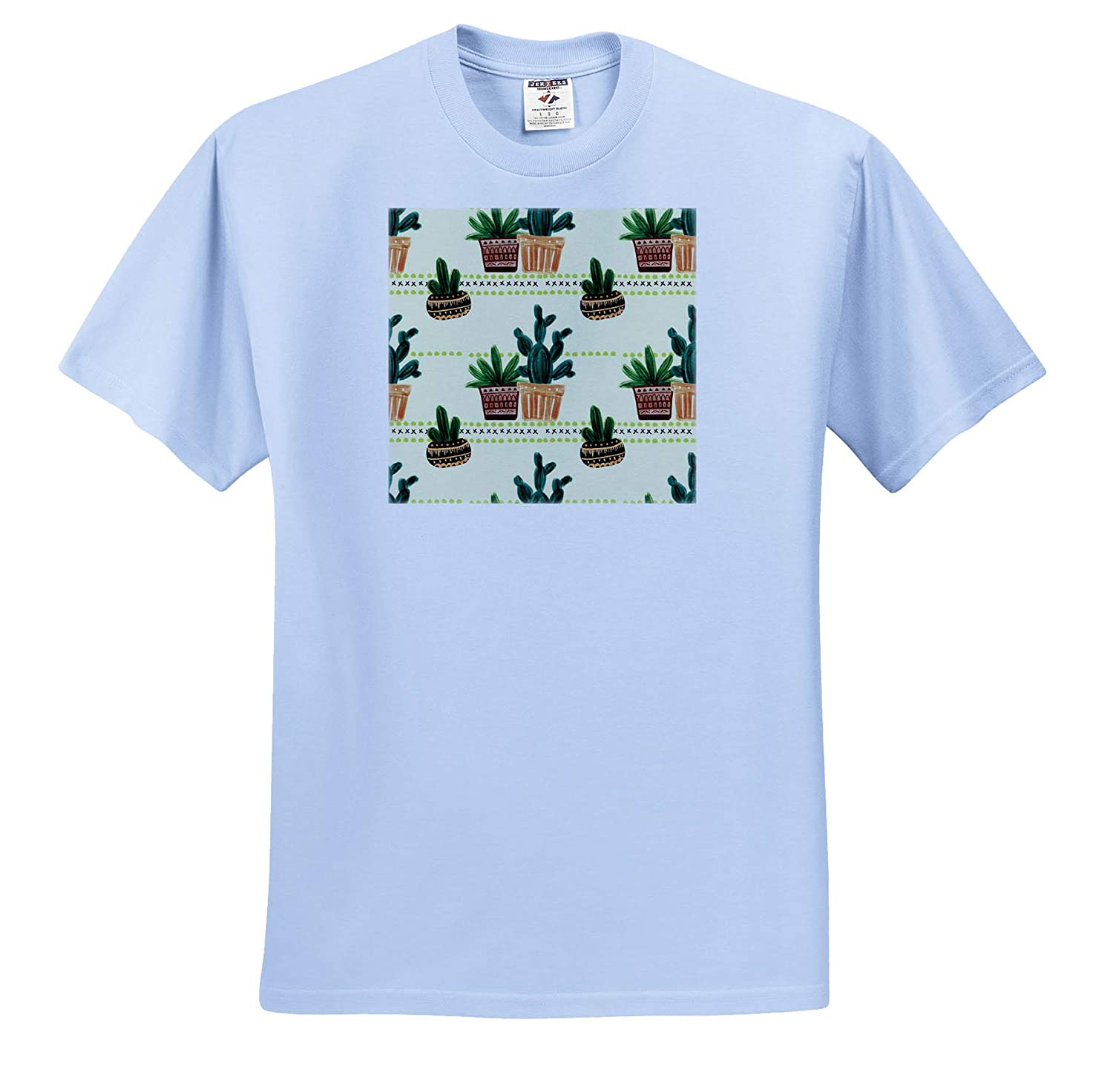 ts/_317656 3dRose Anne Marie Baugh Cute Image of Watercolor Cactus in Pots Pattern Adult T-Shirt XL Patterns
