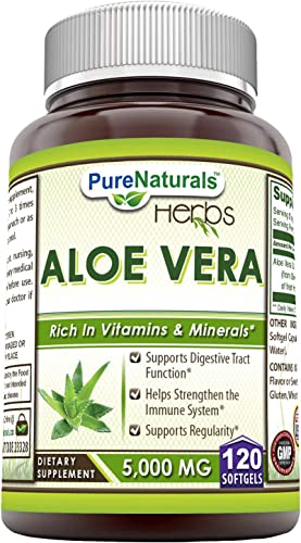 Pure Naturals Aloe Vera 5000 mg 120 Softgels * Ideal as A Natural Remedy to Soothe The Stomach, Supports Detoxification and Healthy Digestion*