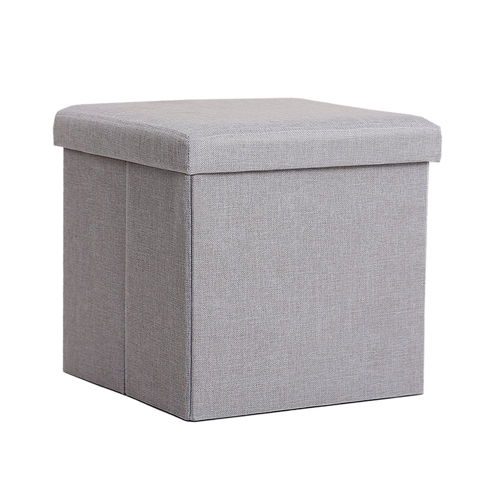 InSassy Folding Storage Ottoman Bench Foot Rest Toy Box Hope Chest Linen-like Fabric - Small - Light Grey by InSassy