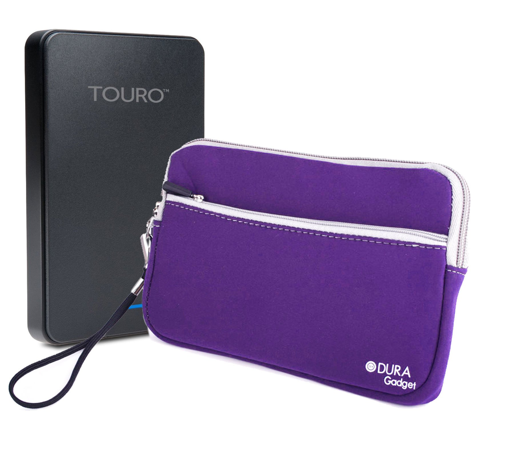 DURAGADGET Purple Travel Water Resistant Cover With Twin Zip - Compatible with HGST Touro Desk Pro 4TB External Hard Drive