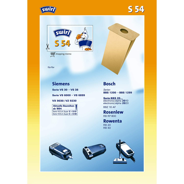 Bolsas de papel para aspiradora Swirl S 54 = R 17