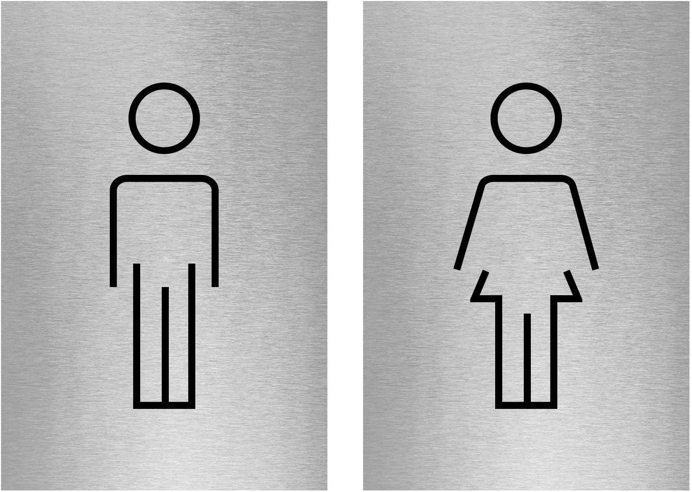 Viro Display Slimline Aluminium Modern Stick Figure Male Female Toilet Sign Twin Pack