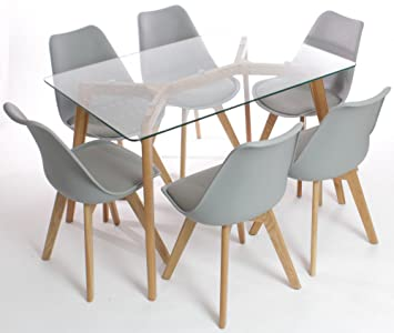 9cd3f323e57b Charles Jacobs Dining Table Six Grey Chairs Set Solid Wood Oak Legs Clear Glass  Table Top