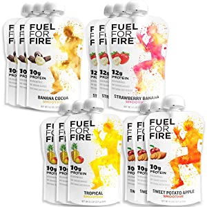 Fuel For Fire - Variety - Team Sports (12 Pack) Fruit & Protein Smoothie Squeeze Pouch | Perfect for Workouts, Kids, Snacking - Gluten Free, Soy Free, Kosher (4.5 ounce pouches)