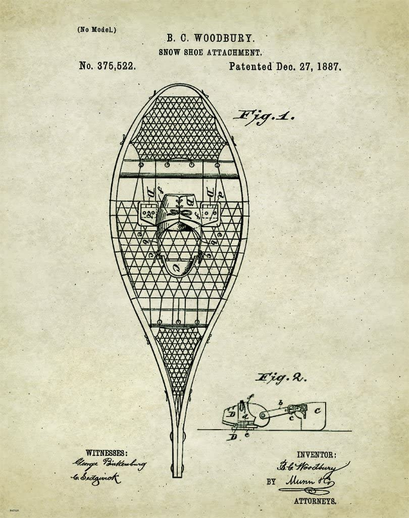 Snowshoes Patent Poster Art Print 11x14 Winter Vintage Wooden Poles Wall Decor Pictures