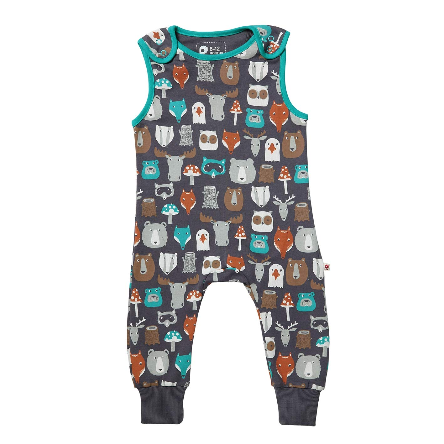 Piccalilly Organic Cotton Unisex Girls Boys Brown Forest Friends Print Baby Toddler Dungarees
