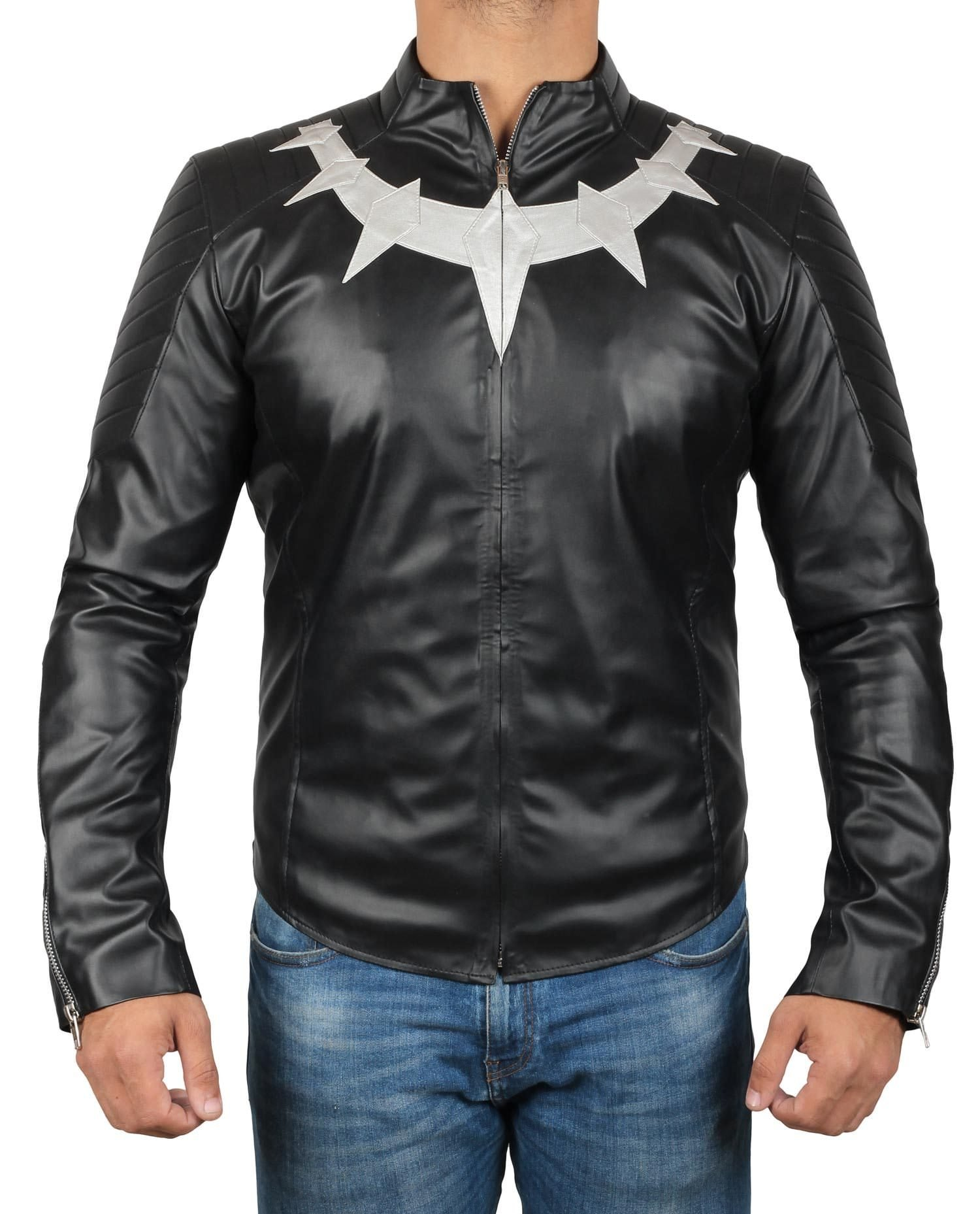 Mens Black Panther Jacket - Avengers Infinity War Leather Jacket | Panther Basic, XXL by Decrum