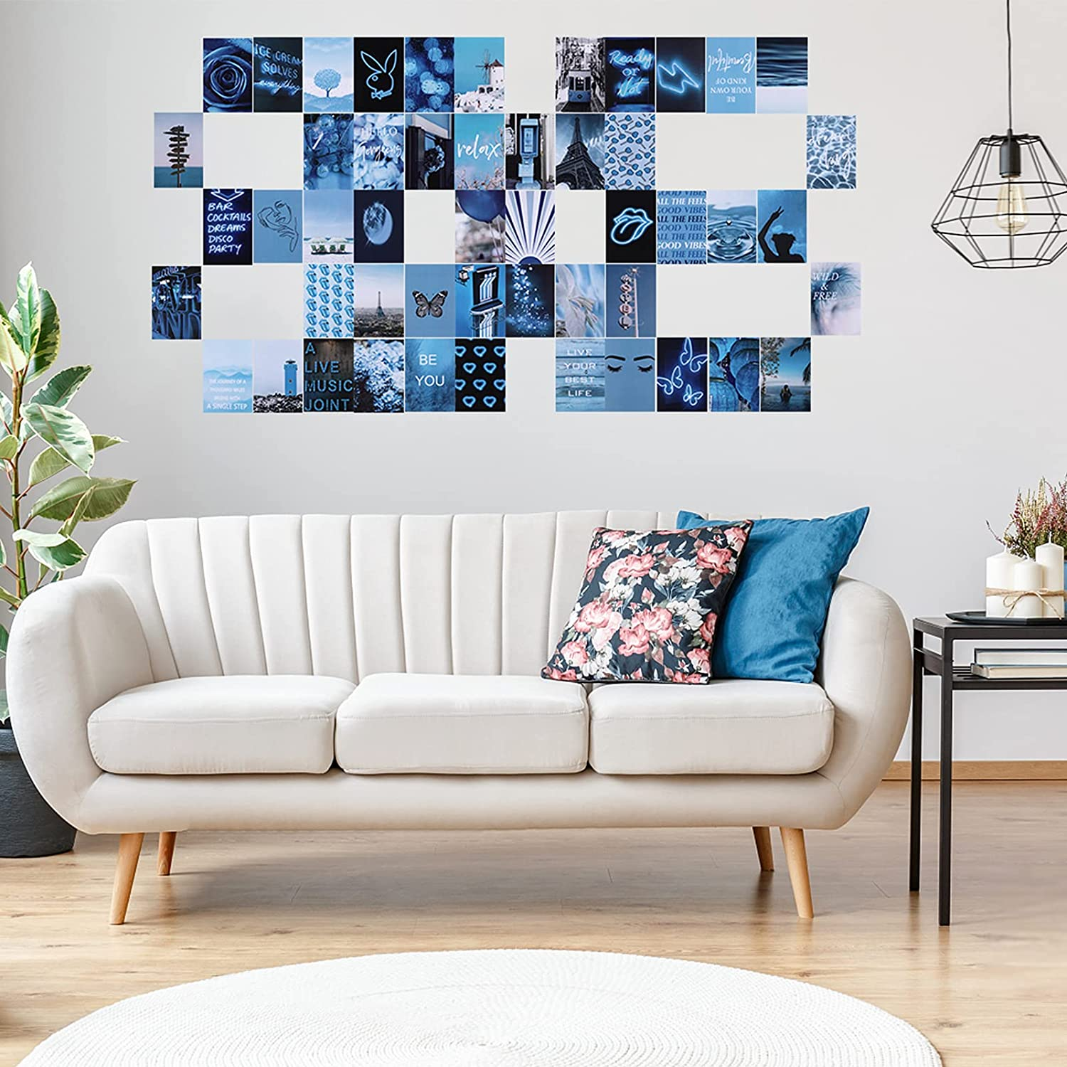 ZIIVARD 50 PCS Blue Wall Collage Kit Aesthetic Pictures, Collage Kit For Wall Aesthetic, Posters For Room Aesthetic Wall Images, Teen Girl Room Decor(50 PCS Blue 4x6 Inch)
