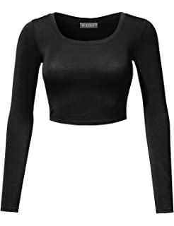 49c7ec7eb4f7df LE3NO Womens Stretchy Basic Fitted Round Neck Long Sleeve Crop Top Made in  USA