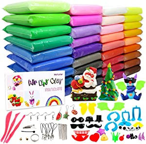 HOLICOLOR 36 Bright Colors Air Dry Clay Magic Modeling Clay Ultra Light Clay with Accessories, Tools and Instructions for Kids DIY Crafts