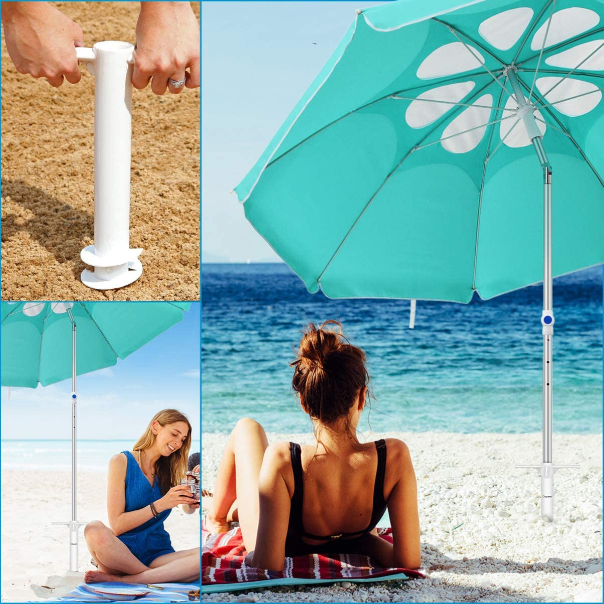 CLISPEED Beach Umbrella Sand Anchor Heavy Duty Stand Holder for Strong Winds