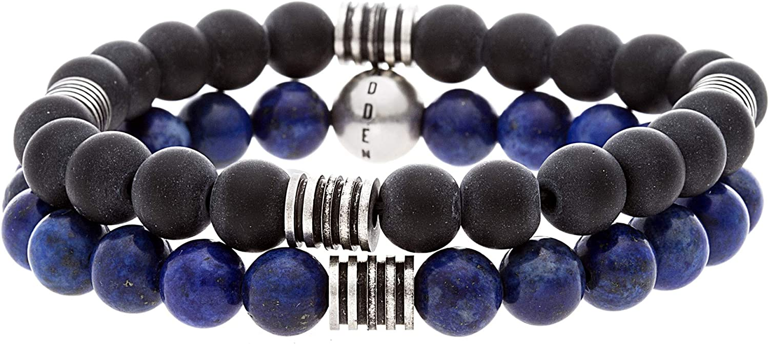 Steve Madden Stainless Steel Blue Black Beaded Bracelet for Men 2 pc Set