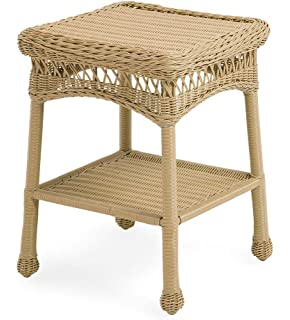 Plow & Hearth 39007-NT Easy Care Outdoor Resin Wicker End Table, 17