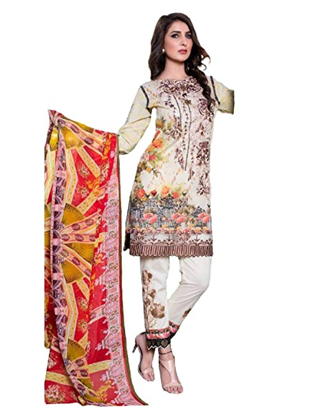 2d6c1c701b Madeesh Pakistani Suit for Women, Cambric Cotton Printed Top, Semi Lawn  Heavy Embroidered Bottom