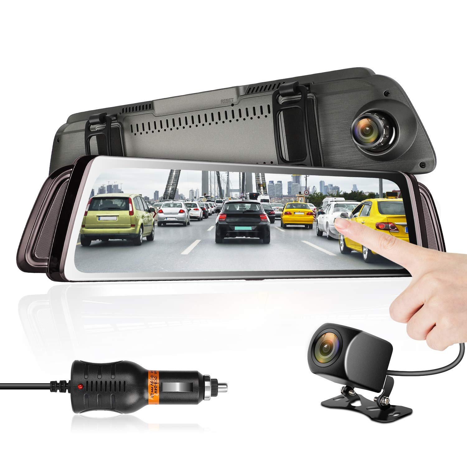 Mirror Dash Cam 9.66'' HD Backup Camera, Dash Cam Front and Rear Dual Lens 1080P Full Touch Screen Video Streaming Rear View Mirror Camera with Waterproof, G-Sensor, 24h Parking Monitor by DUTERI D