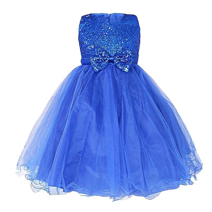 iiniim Vestido Niña Princesa Elegante sin Mangas Boda Fiesta Bautizo Chica Vestido Infantil Brillante Lentejuelas Flor