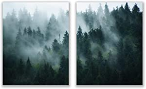 Nordic Forest Prints - Set of 2 (8x10) Glossy Scandinavian Nature Foggy Landscape Wall Art Photography Decor