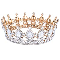 SODIAL Vintage Baroque Queen Bride Crown Rhinestone for Women Headdress Wedding Hair Jewelry Gold