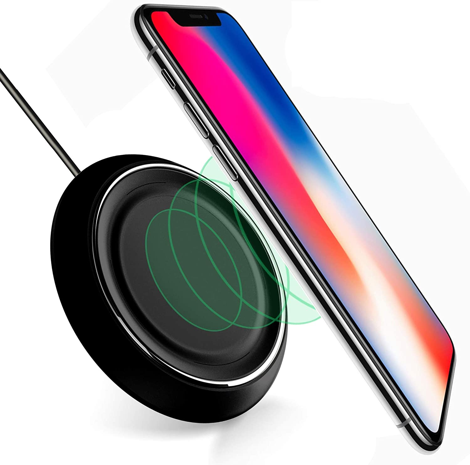 Wireless Charging Pad Compatible with Samsung Galaxy Note 8 S6 S7 S9 S8 Plus-Wireless Fast Charger iPhone X 8 8 Plus-Qi Wireless Charging Pad-Station-Wireless Charger for iPhone 8