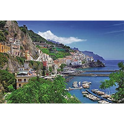 Queenie 1000 Piece Aegean Sea Italy Positano Famous European Town Seaport Harbour Landscape Home Photo Frame Decoration Adults Games Wooden Jigsaw Puzzles: Toys & Games