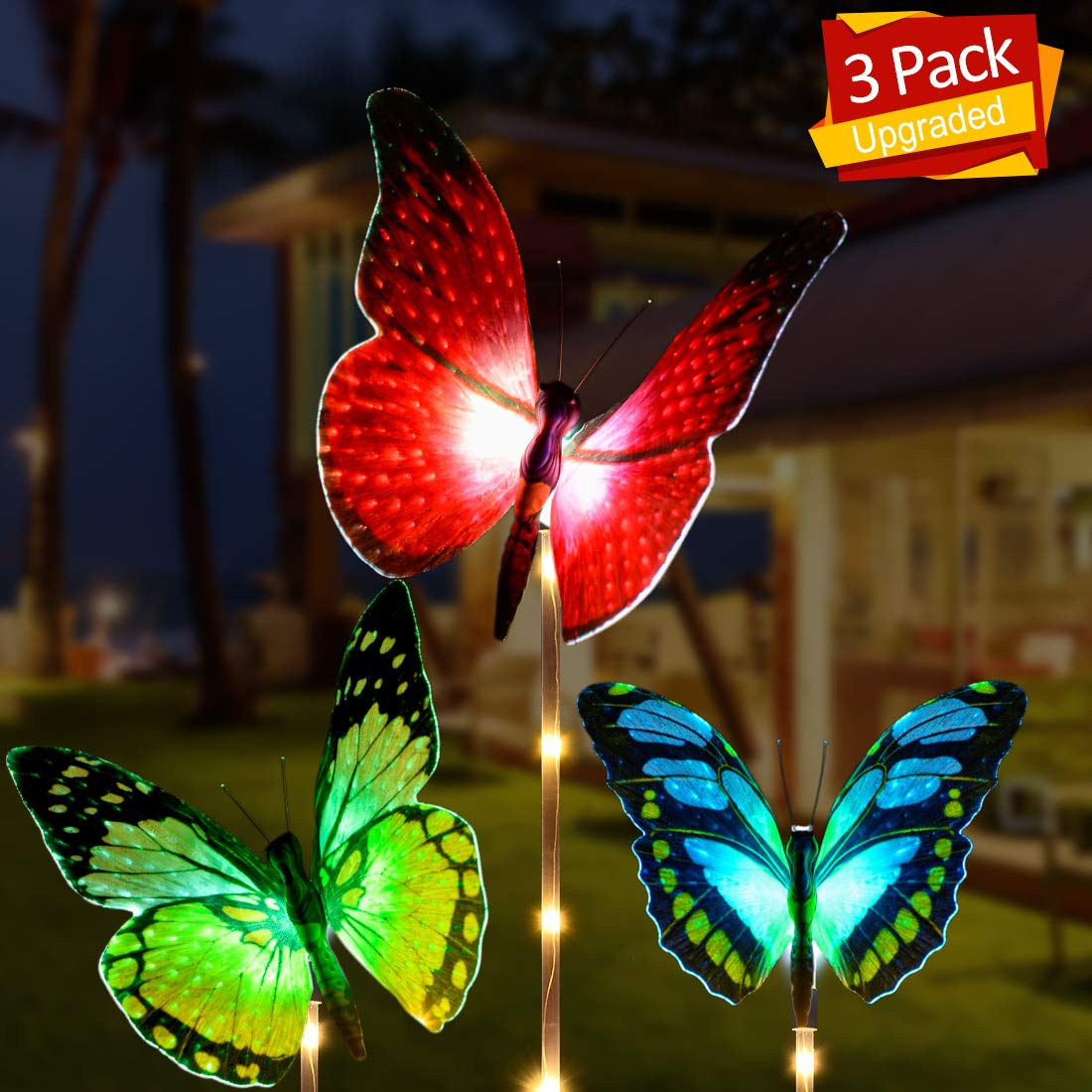 Outdoor Solar Garden Lights, Aockis 3 Pack Solar Stake Light with Fiber Optic Butterfly Decorative Lights,Multi-Color Changing LED Solar Lights (Red Yellow Green)