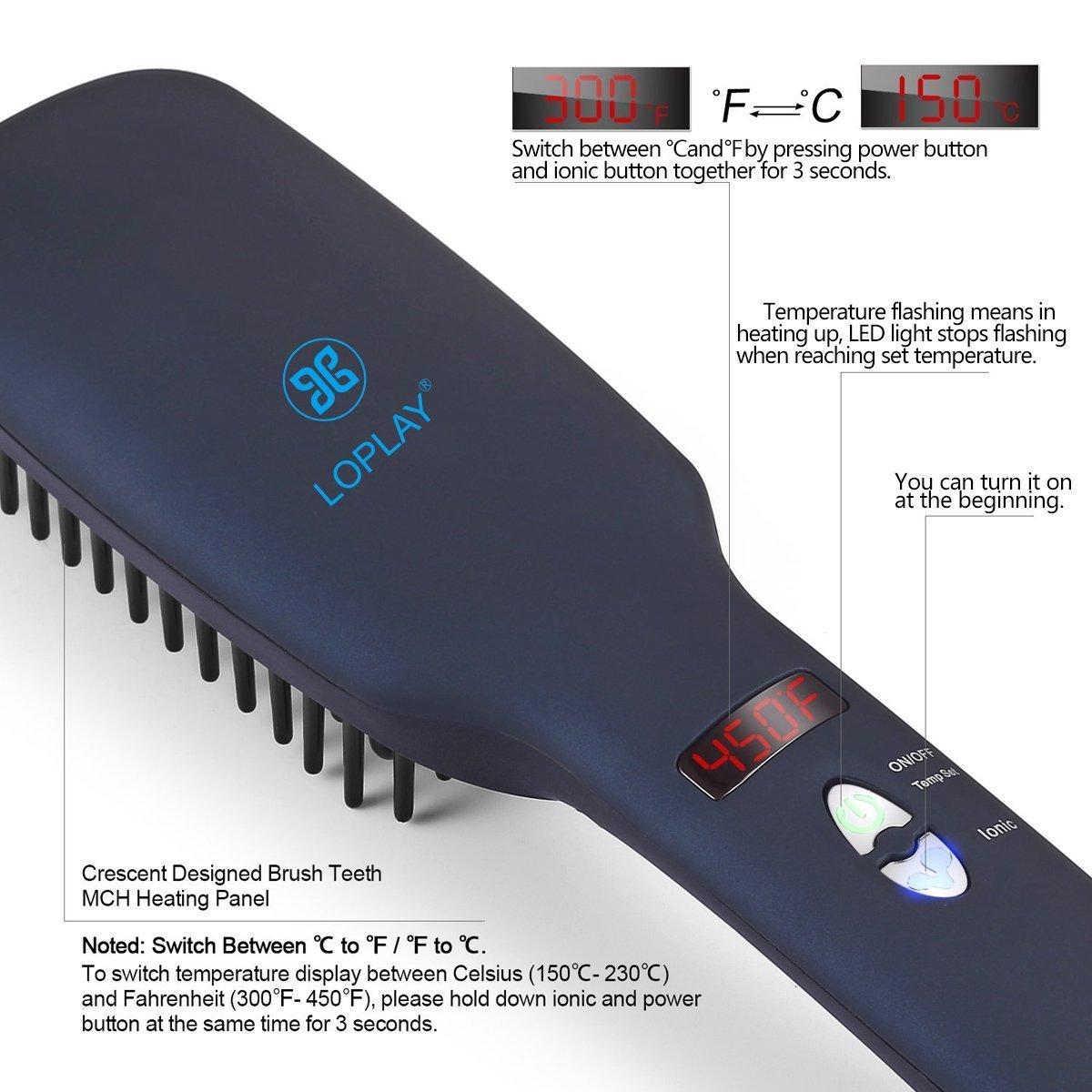 Cepillo para enderezar el cabello, 2 en 1 Cepillo para enderezar el cabello Ionic Cepillo para calentar la cerámica MCH con temperatura ajustable: ...