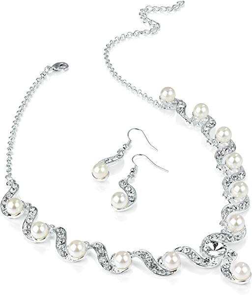 c684b449f Shiny Silver and Pearl Diamante Necklace and Earring Set Costume Fashion  Jewellery: Amazon.co.uk: Jewellery