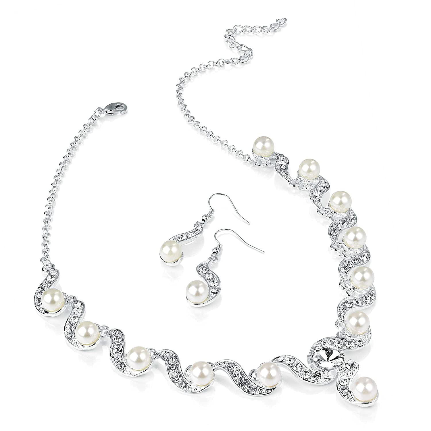 Shiny Silver and Pearl Diamante Necklace and Earring Set Costume Fashion Jewellery Prestina Peach Jewellery