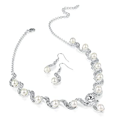 Gleaming Silver plated Pearl Rhinestone Necklace and Earring Set Costume Fashion Jewellery JUCjvaiyZm