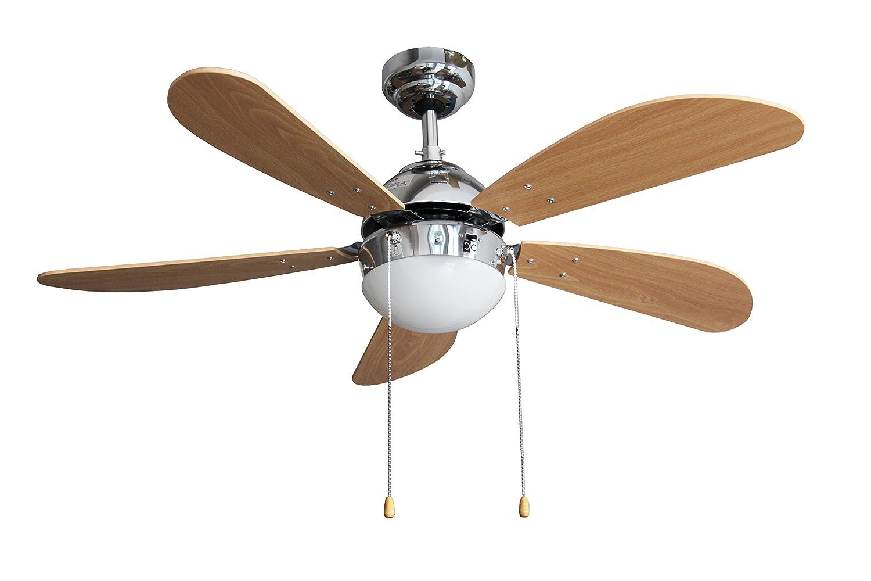 Luce Armour/&Danforth TMX3644 Ventilatore da Soffitto con 5 Pale Cromo Diametro 107 cm