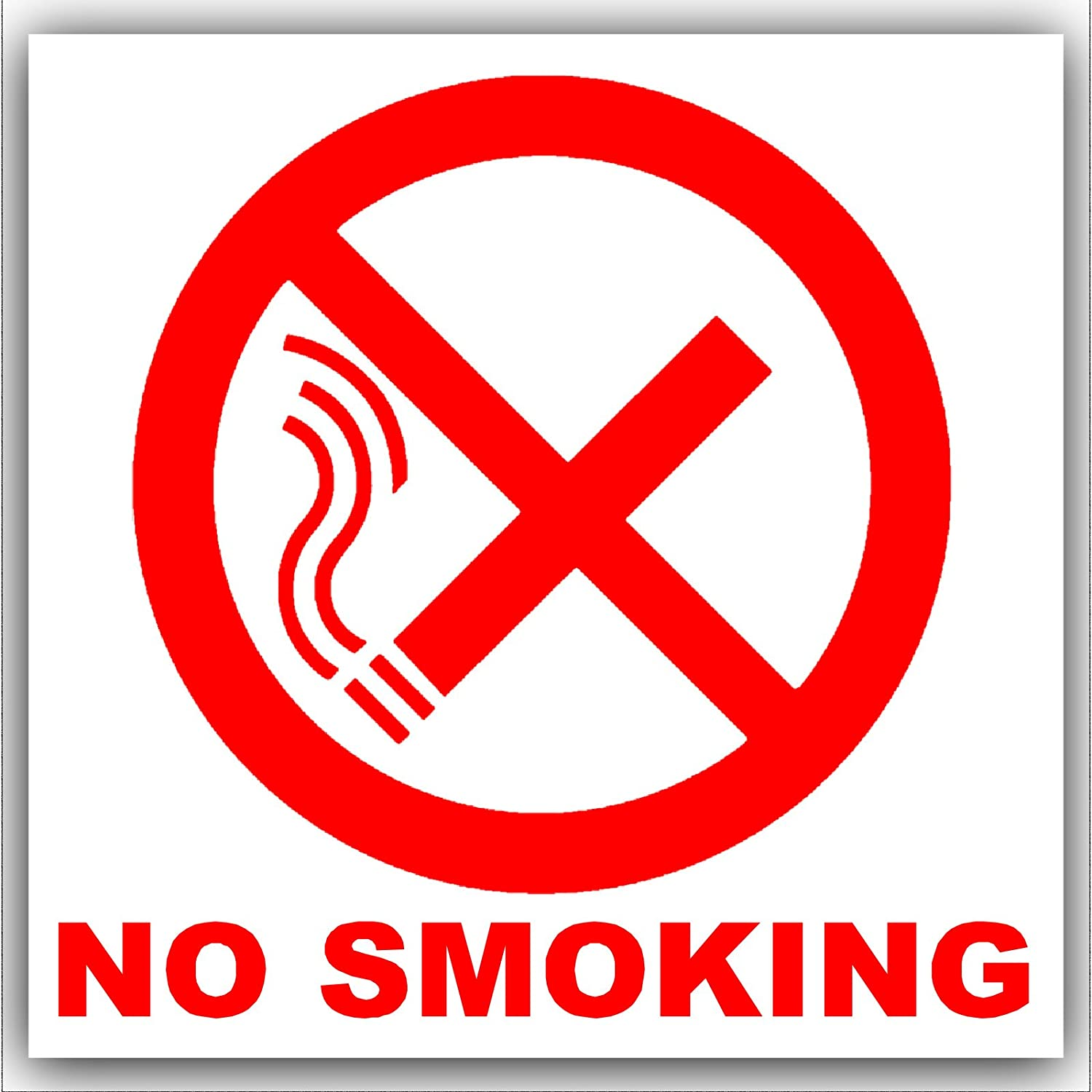 6  x No smoking-red en color blanco con texto, Autoadhesivo externo alerta stickers-bottle logo-health y señ al de seguridad Autoadhesivo externo alerta stickers-bottle logo-health y señal de seguridad Platinum Place