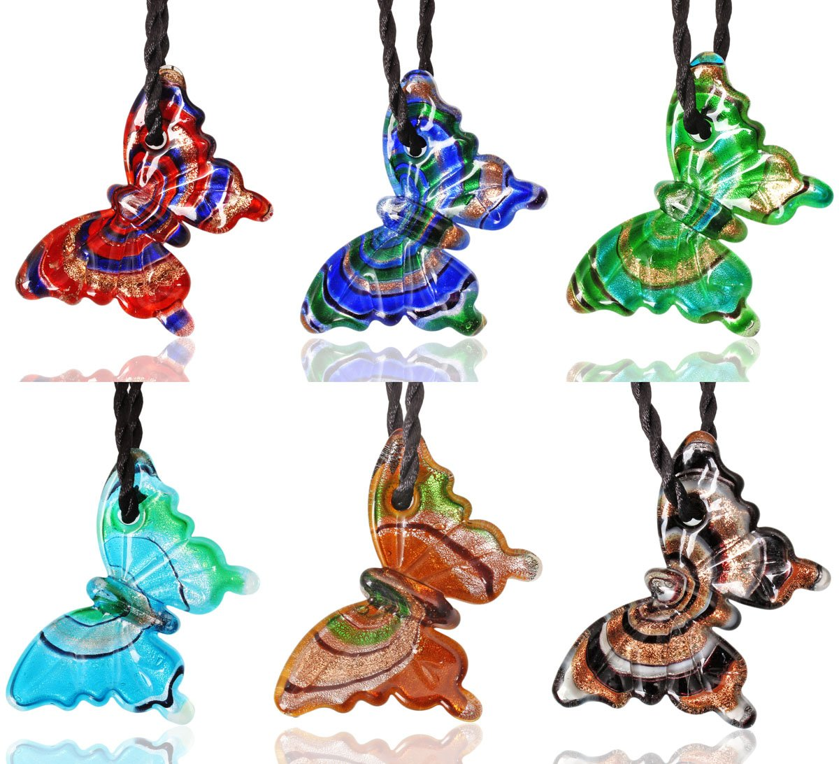 CCSC-PEC Butterfly Gold Sand Lampwork Glass Pendant Necklace 6pc Mixed Set with 19.7'' Black Cord by CCSC-PEC