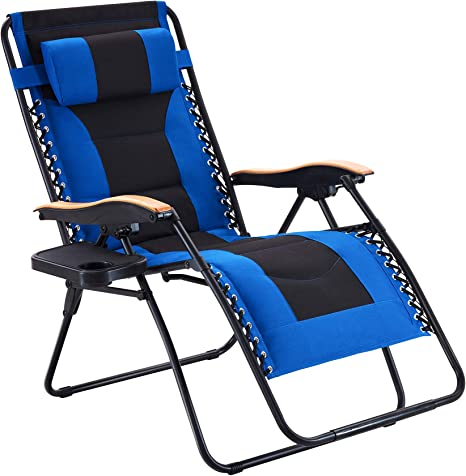 Amazon Com Vicllax Oversize Padded Zero Gravity Chair Patio Lounge Chair With Cup Holder For Outdoor Beach Pool Blue Kitchen Dining