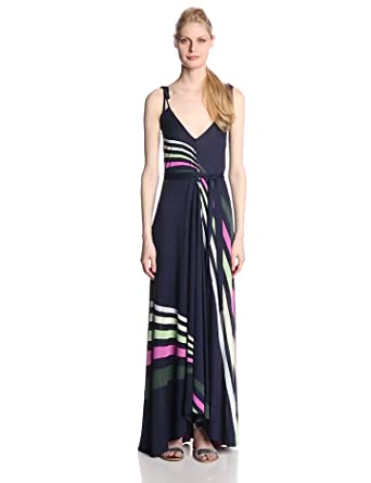 French Connection Women's Rainbow Maxi Dress, Utility Blue Multi, 0