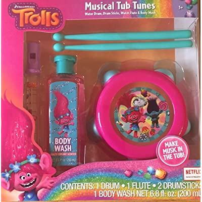 Trolls Musical Tub Tunes Water Drum, Drum Sticks, Water Flute and Wash : Baby