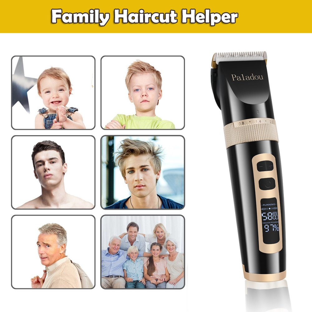 Professional Electric Ceramic Hair Clippers Set Personal Trimmers Combos For Men & Women, Best USB Rechargeable Cordless Travel Haircut Kit 3 Speeds Waterproof Digital Display Hair Clipper Guards