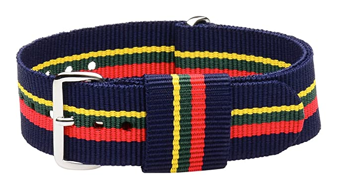 39069e765ee Amazon.com  20mm Nato Ss Nylon Loop Striped Navy Blue   Red   Green ...