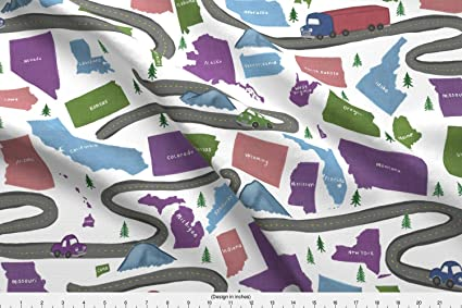 Amazon.com: Spoonflower Road Trip Fabric - Road Trip USA Map ...