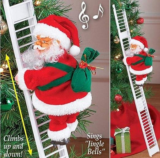 Nai-Style Papá Noel Que Sube Escalera eléctrica Santa Claus árbol de Navidad Ornamento Colgante de la decoración del hogar del Partido: Amazon.es: Hogar
